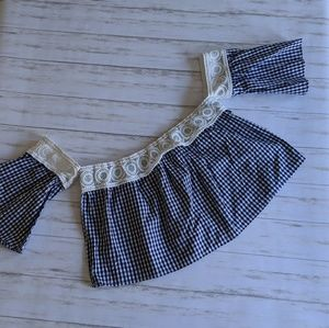 NWT Forever 21 Off-the-Shoulder Gingham Crop Top
